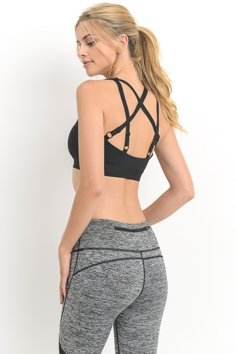 DOUBLE STRAP STAR SPORTS BRA - BLACK