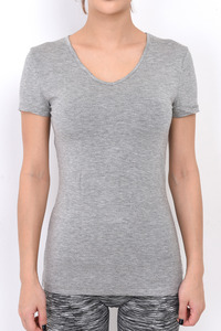 ITZON V-NECK T SHIRTS LIGHT GRAY