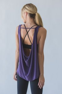 [해외배송][몬티엘]Montiel COWL BACK TANK IN HEATHERED EGGPLANT