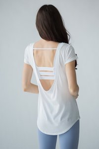 [해외배송][몬티엘]Montiel OLIVIA OPEN BACK TEE IN WHITE