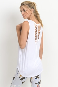 BRAIDED STRAP ACCENT TANK TOP - WHITE