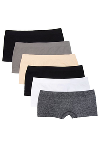 [해외배송]Kalon Women's Nylon Spandex Boyshort Panties(6P Set/4 Colors)